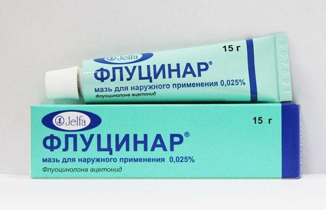 Наружное проявление экземы (дерматоза) можно побороть с помощью специальных лекарственных препаратов, одним из которых является мазь Флуцинар